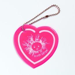 Růžové reflexní srdíčko - přívěsek