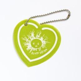 Žlutozelené reflexní srdíčko - přívěsek