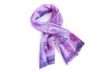 Ručně malovaný šál - fialovo-růžový