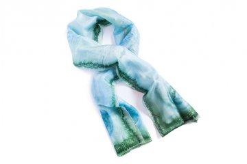 Ručně malovaný šál - modro-zelený