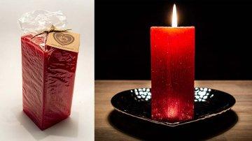 Ručně vyráběná svíčka se třpytkami - červená-hranol