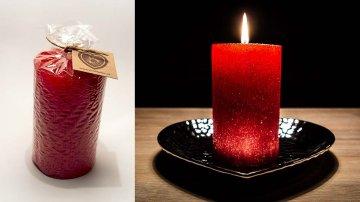 Ručně vyráběná svíčka se třpytkami - červená-válec