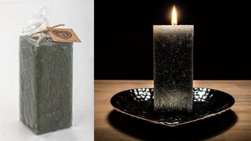 Ručně vyráběná svíčka se třpytkami - fialovošedozelená-hranol