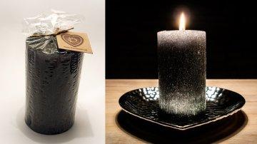 Ručně vyráběná svíčka se třpytkami - zelená-válec