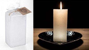 Ručně vyráběná svíčka se třpytkami - bílá-hranol