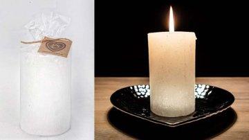 Ručně vyráběná svíčka se třpytkami - bílá-válec