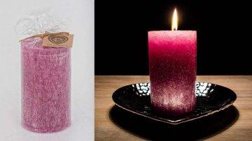 Ručně vyráběná svíčka se třpytkami - růžová-válec