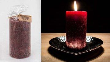 Ručně vyráběná svíčka se třpytkami - bordó-válec