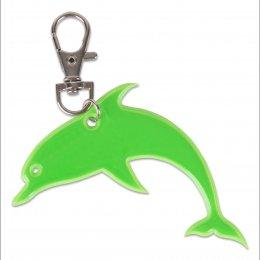Zelený reflexní delfínek - přívěsek