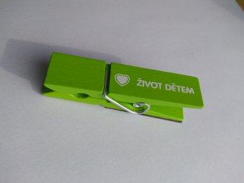 Kolíček s magnetem - zelený
