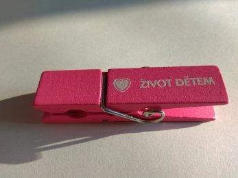 Kolíček s magnetem - růžový